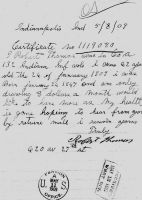 1909:  Robert Thomas, request for Civil War Pension increase, written 8 May 1909 probably by wife Addie, but signed by Robert.