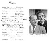 Missionary farewell program for Shelah and Art, 1955