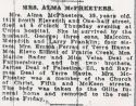 Alma Blanche Deal (1897-1937), Obituary
