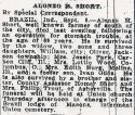 Alonzo Short (1855-1924), Obituary