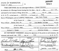 Gary Verne Thomas (1951- ) & Jane Martha Coolidge (1952- ) Marriage certificate
