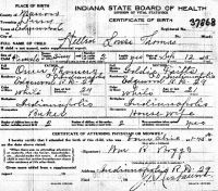 Helen Louise Thomas (1915-1008) Birth certificate