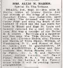 Allie May Belle Fisher (1861-1939), Obituary