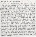 Alva Kirkham Campbell (1889-1957), Obituary