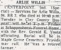 Arley Willis (1879-1974), Obituary