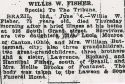 Willis Walter Fisher (1866-1941), Obituary