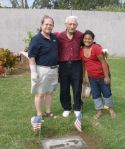 Dave Howard, Bro. H and Granddaughter at Harry Howard grave site Laie Cemetery Christmas 2007