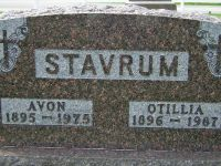 Avon and Otilla Stavrum Headstone