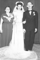 George and Ruth Aleskin Horwitz on their wedding day  with George's mother, Rose Horwitz