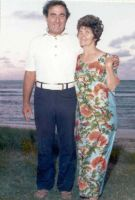 Harry & Mary Howard- on the beach in Laie- Oahu- Hawaii- a short distance from their home- May 1974- he just turned 55 and passed away the next month. He was in great shape except for his heart.