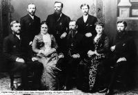 Charles W Penrose - standing on far right is with other prominent Salt Lake City residents in Washington DC lobbying for Utah Statehood. The government would not allow statehood while polygamy was allowed. Starting in the back - left to right - George F. Gibbs - L. John Nuttall - Charles W Penrose - John T Caine - Margaret Nightingale Caine - Joseph F. Smith - Emily S. Tanner - Franklin S. Richards
